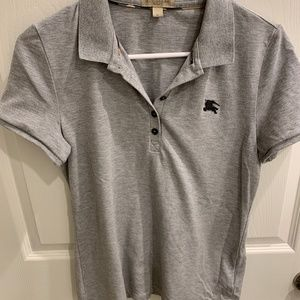 Woman's M Grey Burberry Short Sleeve Shirt